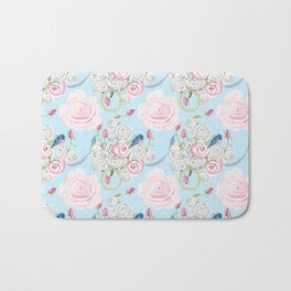 Shabby Chic Bluebirds and Watercolor Roses on pale blue Bath Mat