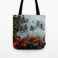twin peaks Tote Bags featuring Twin Peaks  by Olga Krokhicheva