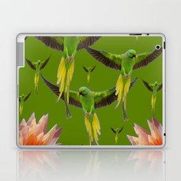 FLOCK OF GREEN FLYING FAIRY BIRDS  & PEACH FLOWERS ART Laptop & iPad Skin