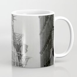 Piecing Together of the Architecture of the Statue Of Liberty In Paris, 1886 black and white photograph Coffee Mug