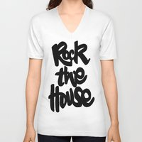 gorillaz V-neck T-shirts featuring Rock The House by Parys