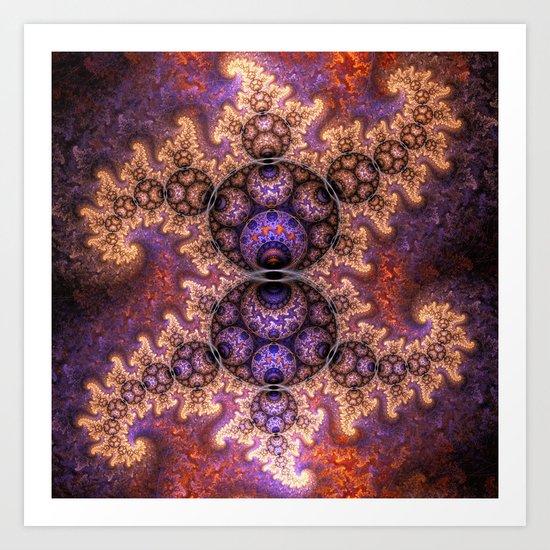 Fiery dragon spirals and orbs Art Print