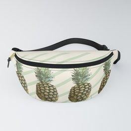 Four Pineapples - Retro Diagonal Stripes on Pastel Lemon Fanny Pack
