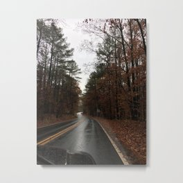 rainy fall drive Metal Print