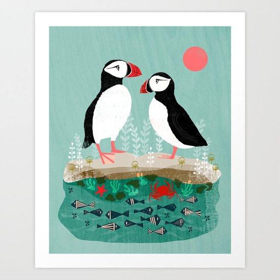 Puffins - Bird Art, Shorebird, Sea bird, birds, Cute illustration by Andrea Lauren by andrealaurendesign