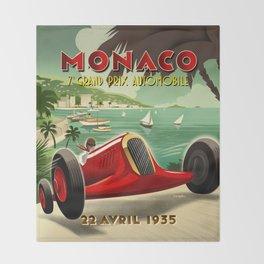 1930's Monaco Grand Prix Poster Throw Blanket