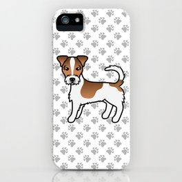 White And Tan Rough Coat Jack Russell Terrier Dog Cute Cartoon Illustration iPhone Case