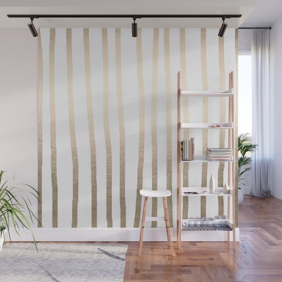 Simply Drawn Vertical Stripes in White Gold Sands by followmeinstead