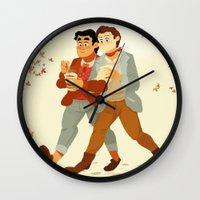klaine Wall Clocks featuring Fall Klaine by CRAZiE-CRiSSiE