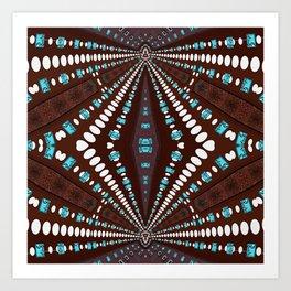 Chocolate Aqua Tribal Sunray Art Print