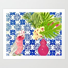 PINK PARROT AND PORTUGESE TILES Art Print