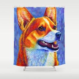 Colorful Pembroke Welsh Corgi Dog Shower Curtain