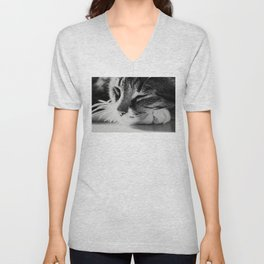 Portrait of a cat in black and white Unisex V-Neck