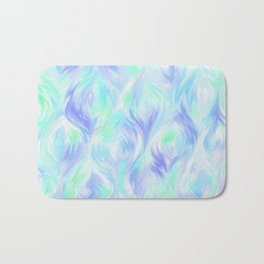 Preppy Blue Watercolor Abstract Ripples Bath Mat