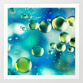 Macro Water Droplets  Aquamarine Soft Green Citron Lemon Yellow and Blue jewel tones Art Print