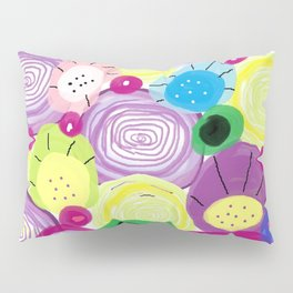 Abstract Flowers in purple and yellow and green and blue and pink Pillow Sham