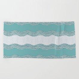 Wavy River in Teal IV Beach Towel