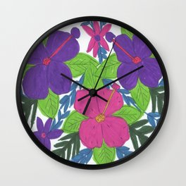 Tropical Hibiscus Bouquet Wall Clock