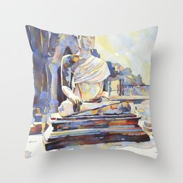 Seated Buddha at Sukothai archaeological ruins- Sukothai, Thailand Throw Pillow