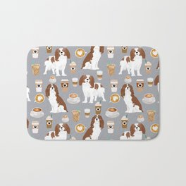 Cavalier King Charles Spaniel coffee lover custom pet portrait by pet friendly dog breeds Bath Mat