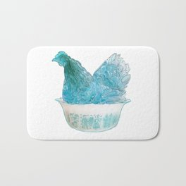 Animals in vintage bowls: Chicken Bath Mat
