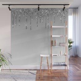 Gray & Silver Glitter Drips Wall Mural