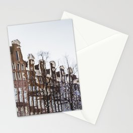 Reflection of Typical Dutch houses, Amsterdam, Netherlands Stationery Cards