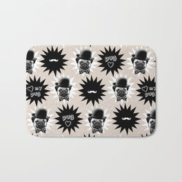 Bowler hat Pug - Love my Pug - dog lovers pattern - hipster moustache - dog in a hat Bath Mat
