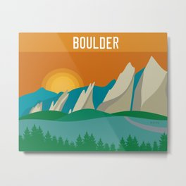 Boulder, Colorado - Skyline Illustration by Loose Petals Metal Print
