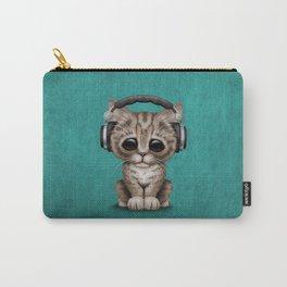 Cute Kitten Dj Wearing Headphones on Blue Carry-All Pouch