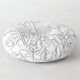 Violets - Line Art Floor Pillow