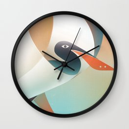 A portrait of a pelican with a red beak Wall Clock