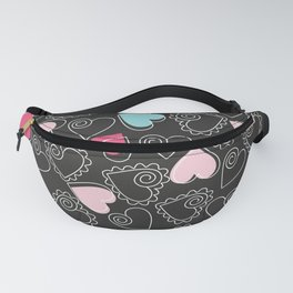 Valentine Black Pattern With Pink And Blue Hearts Fanny Pack