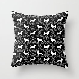 Cairn Terrier silhouette florals black and white minimal dog breed basic dog pattern Throw Pillow