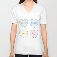 sassy V-neck T-shirts featuring Sassy Hearts by laurenschroer