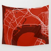 san diego Wall Tapestries featuring San Diego CA. Map by Studio Tesouro