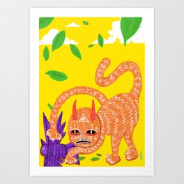 Fox and Hawk, let's be friends Art Print