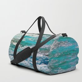 blue ocean wave texture abstract background Duffle Bag