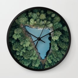 Hidden Lake in a Forest - Landscape Photography Wall Clock