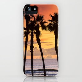 California Sunset Palms / Huntington Beach Ca. iPhone Case