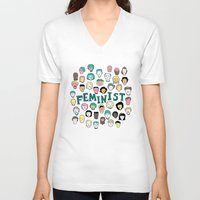 feminist V-neck T-shirts featuring Feminist by F-ordet