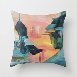 City in the Clouds Throw Pillow