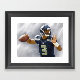 """Russell Wilson's Pass"" Painting by Jae Mez Framed Art Print"