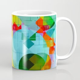 geometric square pixel and circle pattern abstract in red blue yellow Coffee Mug
