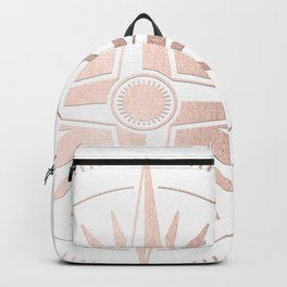Rose Gold on White Compass Backpack
