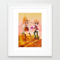 shopping Framed Art Prints featuring Shopping by hazukei