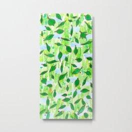 Modern Fresh Leaves Pattern in High Format Metal Print