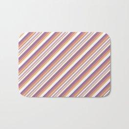 Orchid Indigo Beige Inclined Stripes Bath Mat