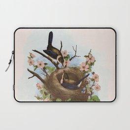 Vintage Birds with Nest Pink Laptop Sleeve