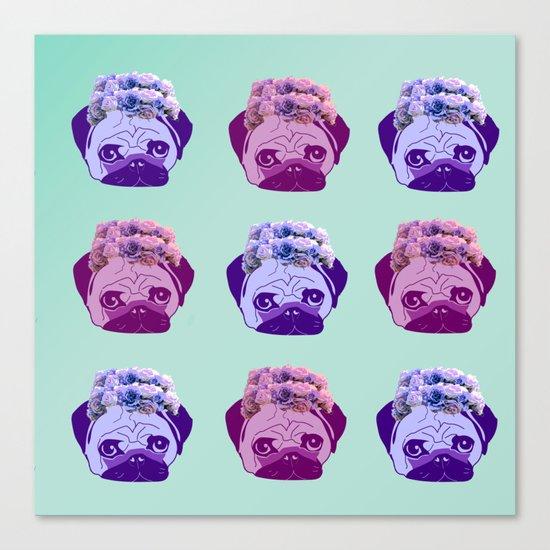 crowned pug pattern Canvas Print